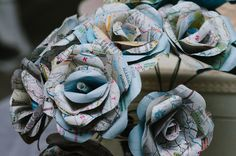 DIY paper rose flower bouquets from maps! From a vintage travel themed wedding at Woodend Sanctuary in VA. Images by An Endless Pursuit.
