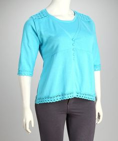 Another great find on #zulily! Blue Crochet Trim Layered Sweater - Plus #zulilyfinds