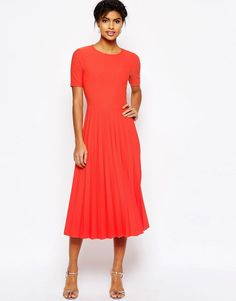 ASOS Textured Pleated Midi Dress, love this dress!! Can't find in my size