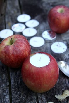 Apple Votive DIY (floating candles)