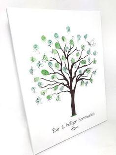 Leinwand als Gästebuch für die Kommunion - Die Gäste hauchen durch ihren Fingerabdruck dem Baum Leben in Form von Blättern ein!
