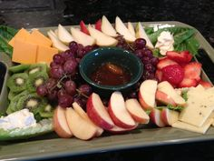 Fruit & Cheese Platter served with chutney.  It is delicious on bread or crackers. Cheese Platters, Chutney, Chocolate Fondue, Allrecipes, Crackers, Nom Nom, Platter Ideas, Appetizers, Cheese Bread