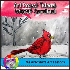 Winter art inspired by stunning cardinals! Use oil pastels and paint to create a winter, red cardinal art piece with your students! A perfect Christmas Art Project or Winter Art Project! This is a great way to keep them engaged when the snow falls this winter