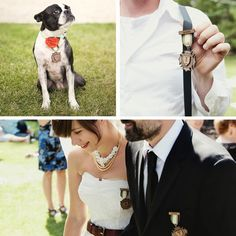 cute wedding idea. medals instead of corsages.