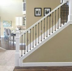 69 Unbiased Report Exposes The Unanswered Questions On Staircase Remodel Stair Redo Banisters 64 Interior Stair Railing, Wrought Iron Stair Railing, Stair Banister, Stair Railing Design, Banisters, Iron Staircase, Curved Staircase, Redo Stairs, House Stairs