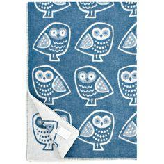 Pöllö Blanket 130x180 Blue twit twooo! i want this!