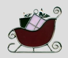 Stained Glass Santa Sleigh