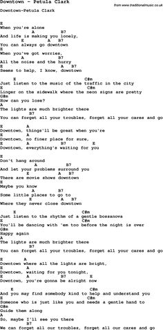Song Downtown by Petula Clark, with lyrics for vocal performance and accompaniment chords for Ukulele, Guitar Banjo etc.