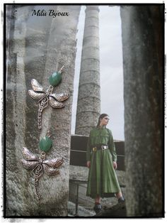 Dragonflies silver with jade