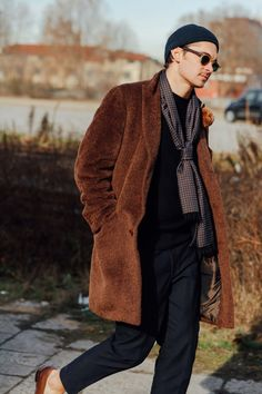 stylish scarf, oversized coat ... Milan menswear street style + fashion