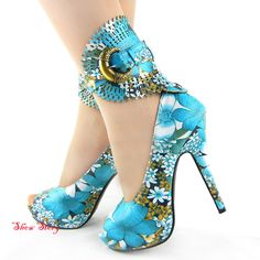 New Blue Multi-Color Floral Print Gladiator Platform Shoes