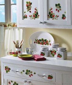 Strawberry Kitchen, Strawberry Farm, Strawberry Patch, Strawberry Shortcake, Strawberry Ideas, Strawberry Preserves, Red Kitchen, Kitchen Cupboards, Home Decor Kitchen