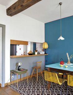 peinture acrylique sur glycero de couleur bleu pour les murs dans la cuisine