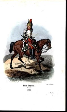 Dragoon Imperial Guard Horseback 1858 Antique Engraved Equestrian Color Print For Like The