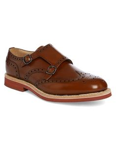 Camel Kelby Polished Binder Perforated Toe Brogues with Double Buckle CHURCHS