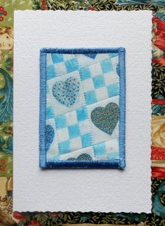 Blue Hearts Valentine/Baby/General by AngiesTextileArt on Etsy, £4.50