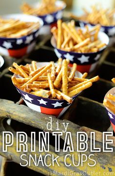 Use our DIY Patriotic Snack Cups   Free Printable 4th of July Printable from MardiGrasOultet.com
