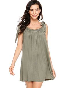 Meaneor Women s Casual Tunic Dress Self Tie Round Neck Sleeveless Solid  Jersey Mini Dress  gt  6898a759f