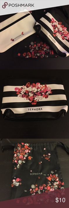 "Set of 3 Sephora Bags Set of three Sephora bags. Bag 1: Black and white striped faux leather bag with black zipper closure. 5.5"" x 8"". Bag 2: Silky fabric black bag with pull tie closure. 8"" x 9.5"". Bag 3: White faux leather with black zipper closure. 5"" x 8.5"". All with red & pink gem patterns. Perfect for gift packaging! All brand new, never used. No tags. Sephora Bags Cosmetic Bags & Cases"