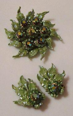 Vintage Brooch and Earrings set Green Rhinestone by SweetPeasLayla, $34.00