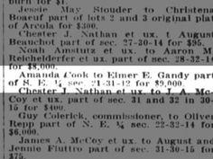 Amanda sold land for $9,000 Landing, Amanda, Cook