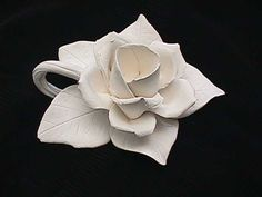 Ceramic bisque unpainted handmade clay open rose candle holder ...