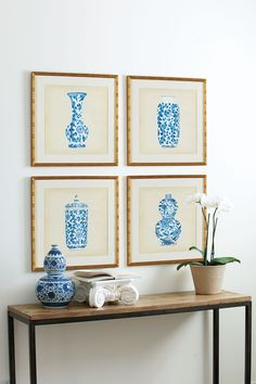 Art prints of blue and white porcelain vases