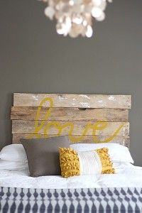 Must try this headboard! Yellow and grey master bedroom with distressed wood headboard. Not sold on the headboard but love the grey with pops of yellow for a master bedroom! My New Room, My Room, Spare Room, Dorm Room, College Room, Home Bedroom, Bedroom Decor, Bedroom Ideas, Gray Bedroom