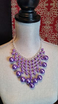 Chunky Purple Bib Necklace, Chain Necklace, Summer, Spring, Purple, Necklace, Bridesmaids, Lightweight Necklace, Aluminum Necklace, Mauve by CrystallureDesigns on Etsy