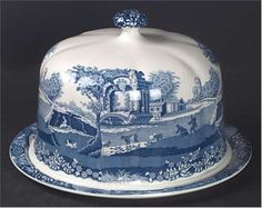 Blue Italian Cheese Dish by Spode