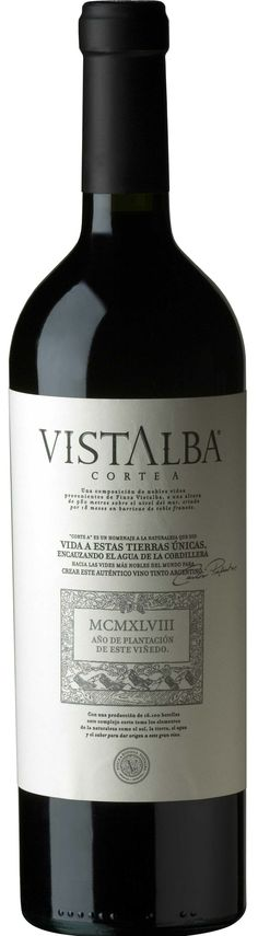 """""""Vistalba Corte A"""" 54% Malbec/ 30% Bonarda / 16% Cabernet Sauvignon 2011 - Bodega Vistalba, Luján de Cuyo, Mendoza-------------------------------- Terroir: Vistalba--------------------- Crianza: 19 meses en barricas de roble francés"""