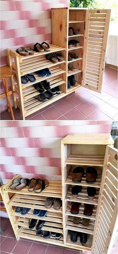 Shoes Rack Design with Stand Pallet Wood Projects de palets cocina Wood Pallet Recycling, Wooden Pallet Projects, Pallet Crafts, Wooden Pallets, Wooden Diy, Pallet Wood, Pallet Cupboard Ideas, Pallet Boxes, Pallet Storage