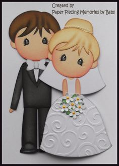 Bride and Groom Set Premade Paper Piecing Die Cut for Scrapbook Page by Babs