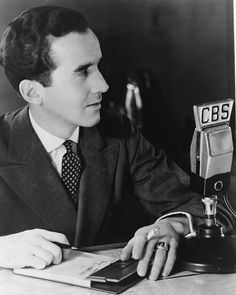 Edward R. Murrow (1908-1965) pioneering radio reporter who brought WWII into American homes during the Battle of Britain.