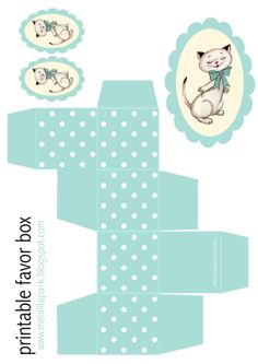FREE printable polka dot box (+ vintage kitty tag ^^)