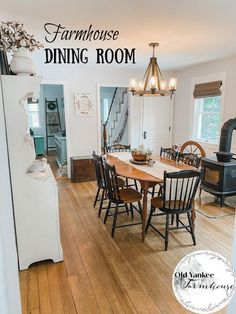 farmhouse dining room Dining Room Design, Dining Rooms, Handmade Home Decor, Diy Home Decor, Farmhouse Dining Room Lighting, New England Farmhouse, Living Room Mirrors, New England Homes, Rustic Farmhouse