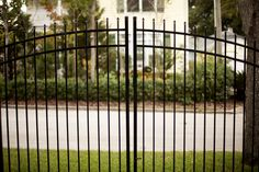 Aluminum Double Swing Gate Design by Mossy Oak Fence Company, Orlando, FL Double Swing, Fencing Companies, Types Of Fences, Wrought Iron Fences, Aluminum Fence, Stair Steps, Mossy Oak, Fence Design, Orlando