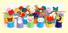 布絵本のふかふか絵本~フェルト製布おもちゃ「指人形30コセット」- dedoches