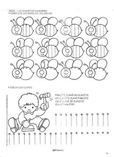 Grafimanía 1 - Betiana 1 - Picasa Web Albums Tracing Worksheets, Preschool Worksheets, Pre Writing, Writing Practice, Preschool Writing, Preschool Crafts, Bee Coloring Pages, Cartoon Cow, Shape Art