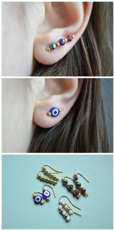 DIY Ear Sweep Tutorial from The Camelia. Ear sweeps are also known as ear climbers, ear crawlers, and ear vines. This ear sweep is made out of an ear wire and beads. You can go on Etsy and Ebay for lots of inspiration and see different ways of constructing ear sweeps. I've posted pages of ear cuff tutorials here: truebluemeandyou.tumblr.com/tagged/ear-cuff and you can see my roundup of DIY ear cuff tutorials I posted here. I posted this DIY Ear Sweep Tutorial from Gina Michel...