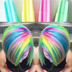 Stunning colors for short and medium hair! - Crasiest Fire and Neon - Hair Color Vivid Hair Color, Beautiful Hair Color, Cool Hair Color, Hair Colors, Neon Colors, Shoulder Length Curly Hair, Curly Hair With Bangs, Neon Hair, Purple Hair