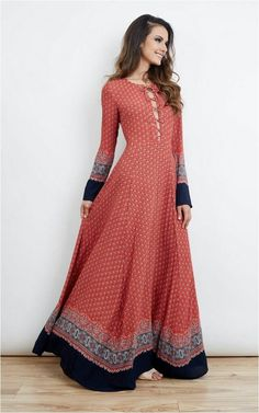 Everyday Outfits: Dresses – Red navy border print lace up maxi dress. Features long sleeves, lace up detail at the chest with flared semi-sheer maxi length skirt. As seen on Kate Middleton. Long Sleeve Maxi, Maxi Dress With Sleeves, Dress Up, Dress Lace, Batik Dress, Full Sleeves, Lace Dresses, Mode Abaya, Mode Hijab