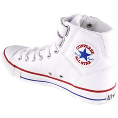 CONVERSE White 2 Strap Hi White With Red And Blue 127530c ($99) ❤ liked on Polyvore