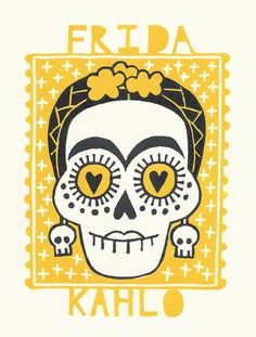 Frida Kahlo  day of the dead lino print by ruthbroadway on Etsy