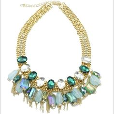 """T&j Designs Mint Bejeweled Necklace Just in! This beautiful necklace is a piece from the T+j Designs Collection which just launched in the Poshmark Wholesale Portal! 15% off bundles of 2 items or more! Let me know if you have any questions!  Materials: base metals, glass crystals Size: 16""""L, 3"""" extension T&J Designs Jewelry Necklaces"""