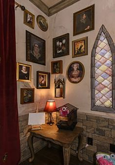 turn your room into a hogwarts room. A trip to any antique store will provide you all the old photos you need to make the walls feel like Hogwarts. Unfortunately, or fortunately, depending how you look at it, these frames won't move or talk. But you can hang them up and make your own stories about what legendary wizards or witches they were.