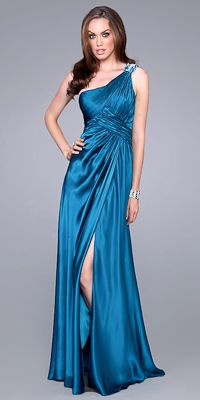 One Shoulder Satin Prom Gown