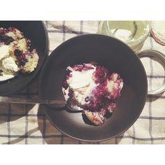 Blueberry Amaretto Pudding Cake with Amaretto Whipped Cream