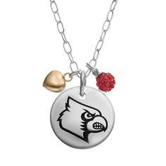 "Fiora Crystal Sterling Silver Louisville Cardinals Team Logo & Heart Pendant Necklace, Women's, Size: 16"", Red"