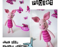 Piglet - amigurumi crochet pattern. Inspired by Winnie the Pooh film. PDF file. Language - English.